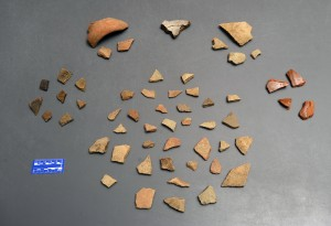 Assorted pottery sherds originally found on the surface of the Luna settlement, including Spanish olive jar, lead glazed coarse earthenware, and majolica, and incised and plain Native American pottery.