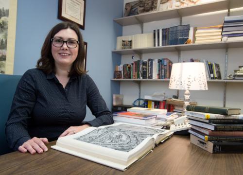 Dr. Jennifer M. Feltman, Visiting Assistant Professor in her office at the University of West Florida.