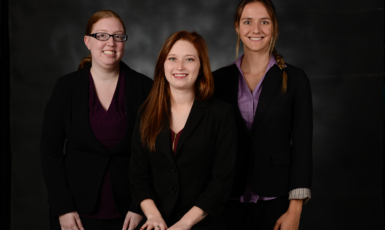 Kristie Anthony, Aspen Drude and Fernanda Amaral winners of the SHRM (Society for Human Resource Management) Case Competition undergraduate division in Atlanta, Ga.
