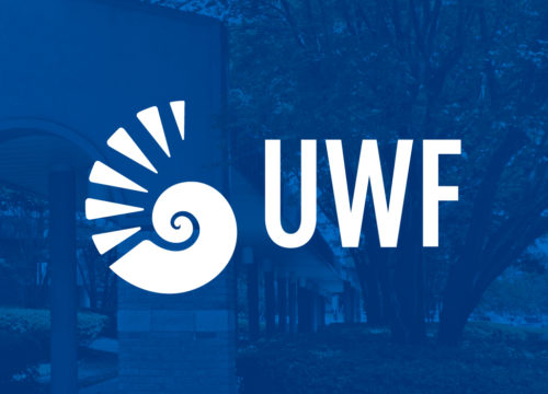 Blue graphic with UWF logo on it.