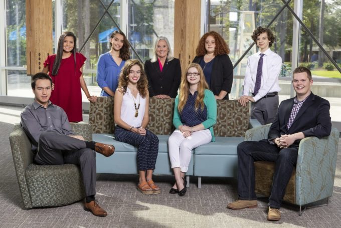 President Saunders with the 2018 Top Scholar recipients