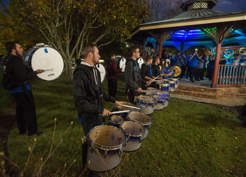 The Argo Athletic Band played as guests arrived to the home of the Russenbergers for the check presentation on Monday, Nov. 26.