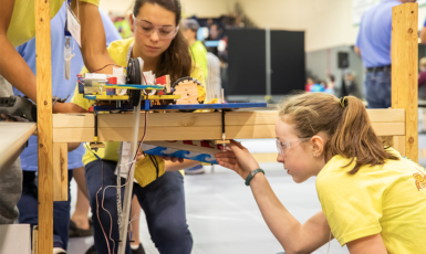 Students from Woodlawn Beach Middle School competing in the Emerald Coast BEST Robotics competition on Nov. 3, 2018
