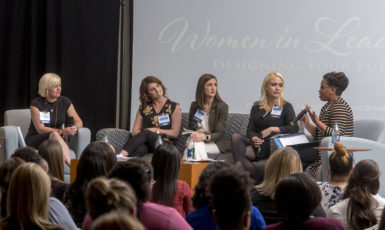 A panel of prominent community leaders speaking during the 2018 Women in Leadership Conference