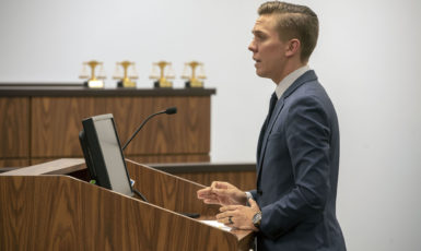 UWF student presents case during the competition