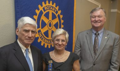 Nan DeStafney, 2018 winner of the Rotary Ethics in Business Award, with Dr. Ed Ranelli and Ted Kirchharr.