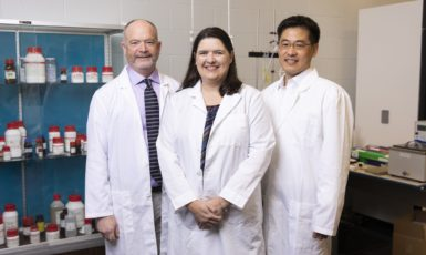 Dr. James Arruda, Dr. Crystal Bennett and Dr. Youngil Lee in the Cardiovascular Physiology Lab in Building 72. Three faculty in the Usha Kundu, MD College of Health at UWF engaged in research aimed at identifying, ameliorating or combating the causative mechanisms or symptoms of Alzheimer's disease.