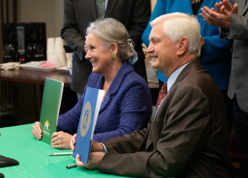 UWF President Martha D. Saunders and PSC President Ed Meadows at the PSC2UWF extended partnership signing ceremony on Tuesday, March 5, 2019