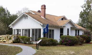 The Simpson House, built in 1935, is located at the Arcadia Mill Archaeological Site in Milton, FL