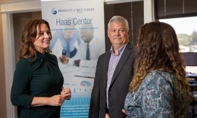 Nicole Gislason, interim assistant vice president of the UWF Haas Center with team members
