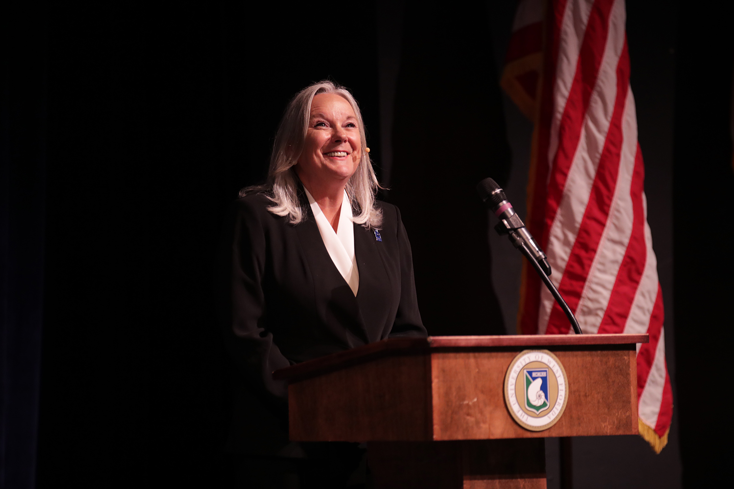 UWF President Martha D. Saunders at the State of the University Address, Sept. 27, 2019