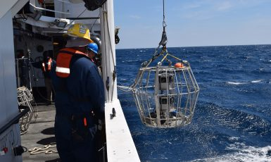 Camera gear being deployed to collect reef fish video