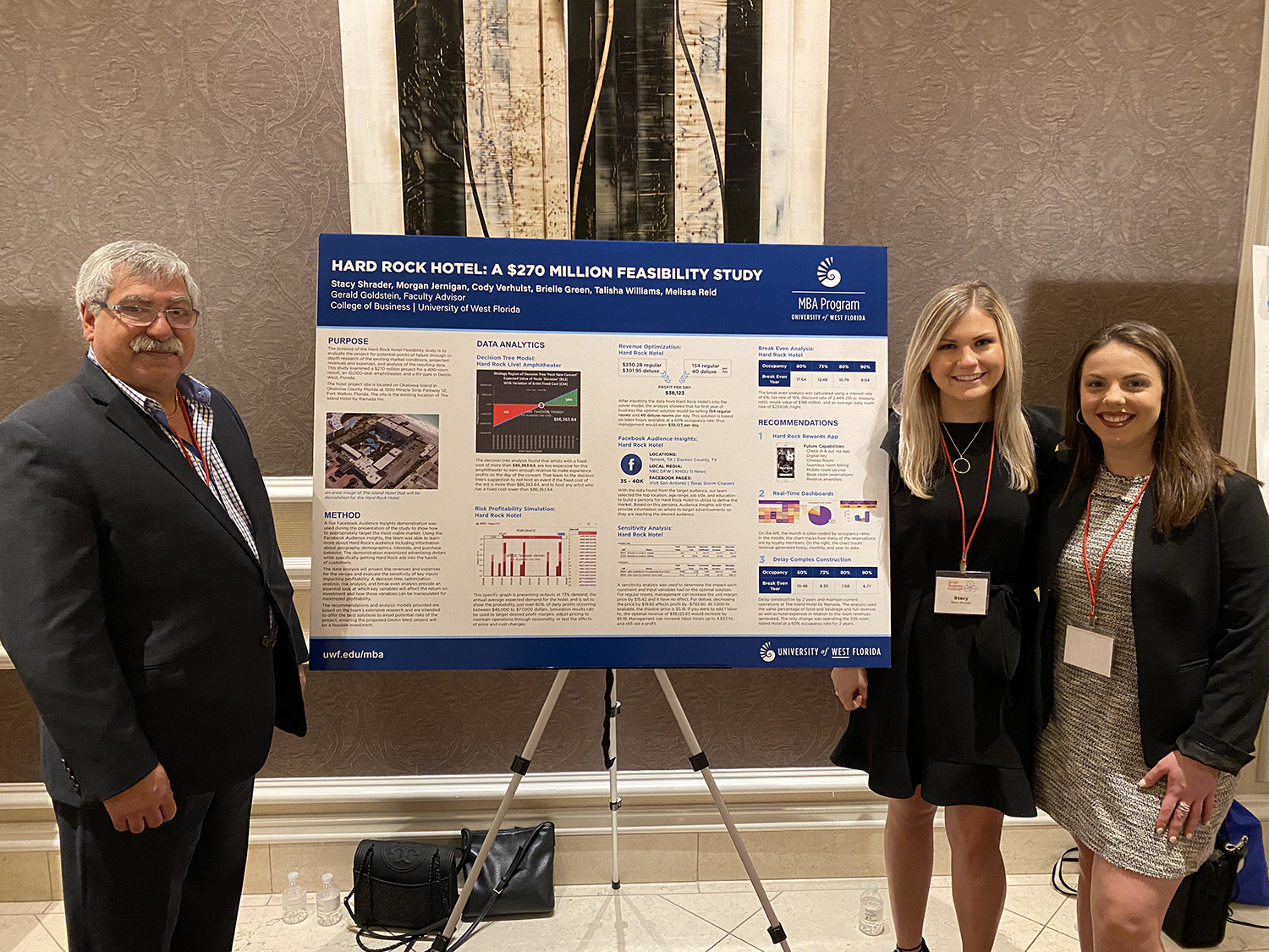 (Pictured left to right) UWF faculty advisor Gerry Goldstein and UWF students Stacy Shrader and Morgan Jernigan