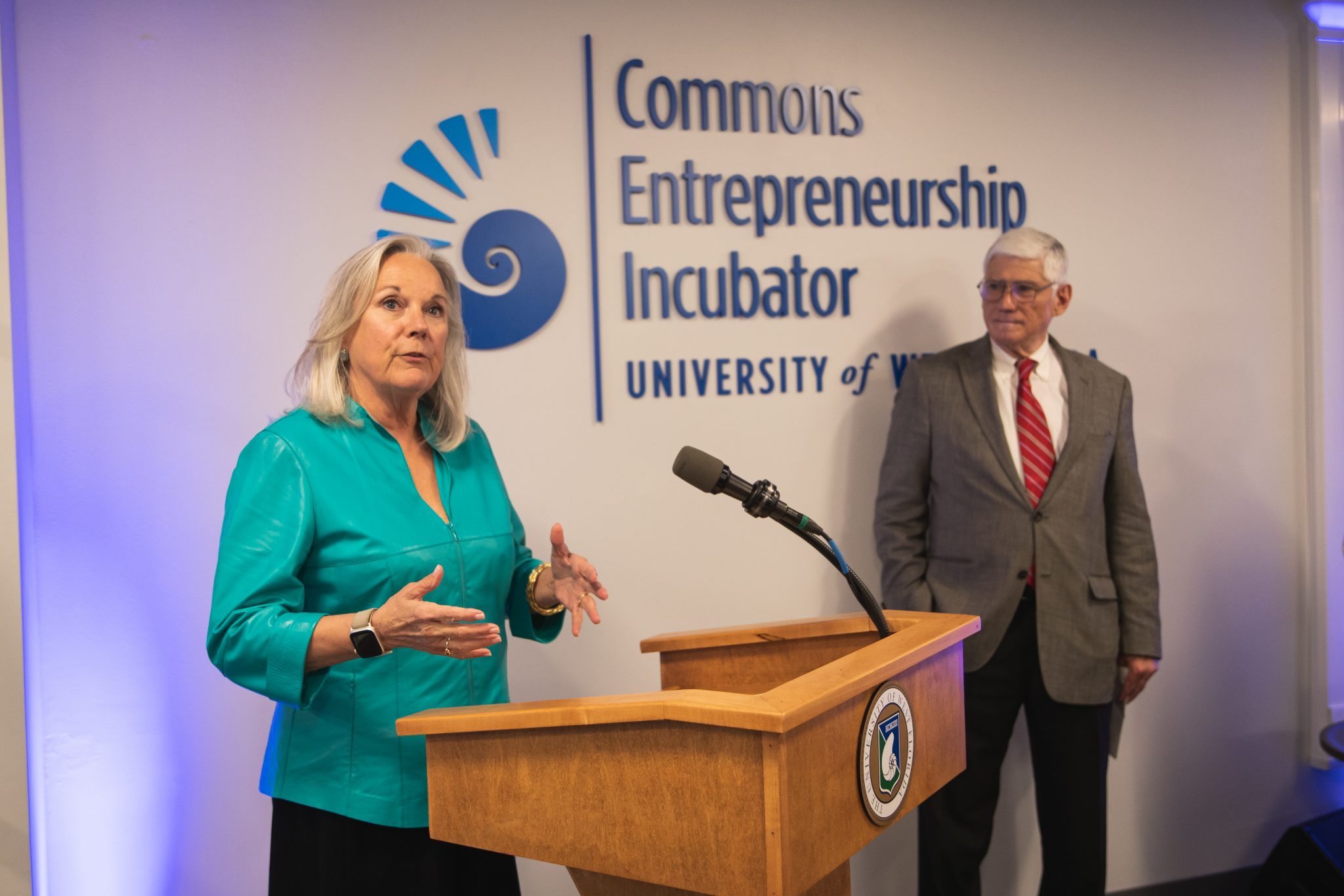 UWF President Martha Saunders during the grand opening of the Commons Entrepreneurship Incubator Grand Opening