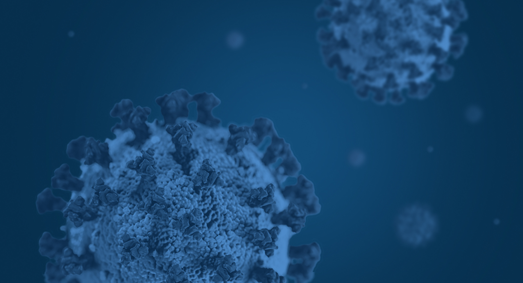 Blue graphic of Coronavirus (COV-19) cells