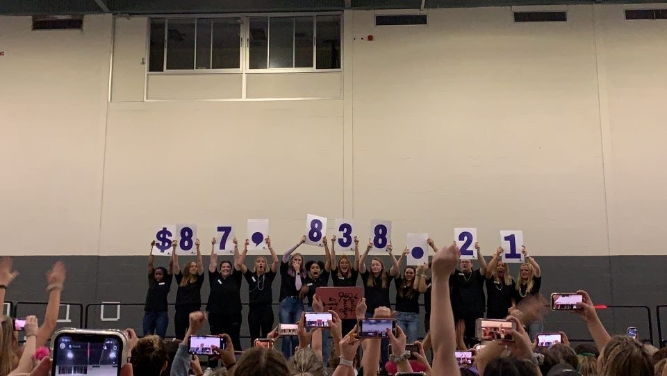 """Dance Marathon 2020 executive members holding up the numbers """"$87,838.21"""""""