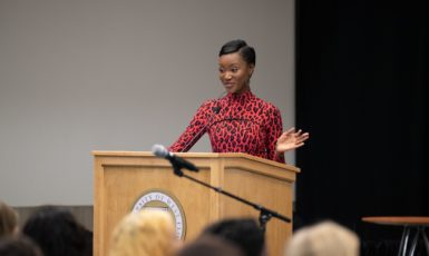 The 2020 Women in Leadship keynote speaker, Deshauna Barber, a former Miss USA, U.S. Army Captain and STEM graduate taking the stage