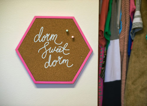 "Sign in a UWF dorm that says ""Dorm Sweet Dorm"""