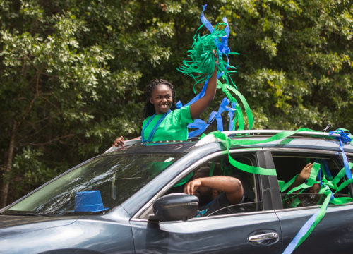 UWF admissions celebrates incoming freshman and Top Scholar Elizabeth Royappa, recipient of the Pace Presidential scholarship, with a drive-by caravan of supporters in front of the student's residence on May 13, 2020.