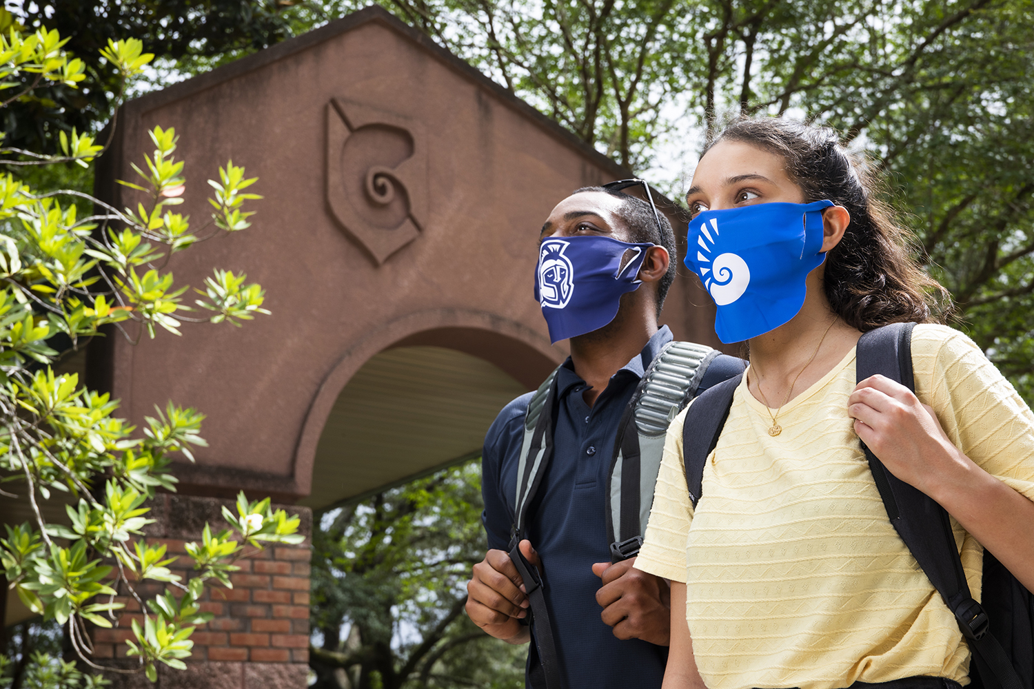 UWF students wearing face coverings