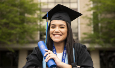 A UWF student takes a moment to tour the UWF campus and reflect on her last four years on April 7, 2020. Although unconventional circumstances have cancelled a traditional commencement ceremony, UWF graduates are still able to celebrate their achievements.