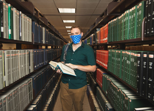 Theatre major Collin Crews wears face protection on the UWF campus on July 8, 2020.