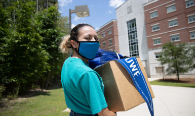 UWF student during move-in week