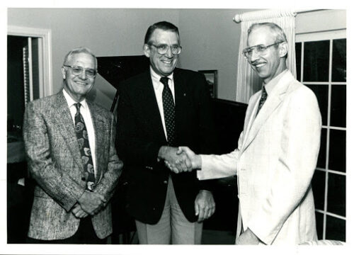 (Pictured left to right) Dr. Grier Williams, Dr. Milton Usry and Dr. Peter Young, 1992 UWF Guild for the Arts