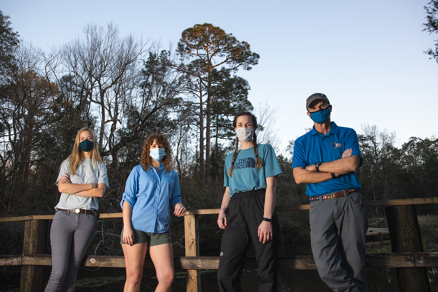 Selina Detzel, Katelyn Bray and Emily Major, are UWF biology students who work with Dr. Frank Gilliam in studies of the campus ecosystem, with focuses on longleaf pine trees and gopher tortoises.