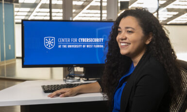 UWF student at the UWF Center for Cybersecurity