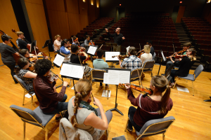 """Dr. Leonid Yanovskiy, director of the UWF String Program conducts the """"Runge Strings"""" Orchestra as they rehearse for their upcoming performance at the University of West Florida."""