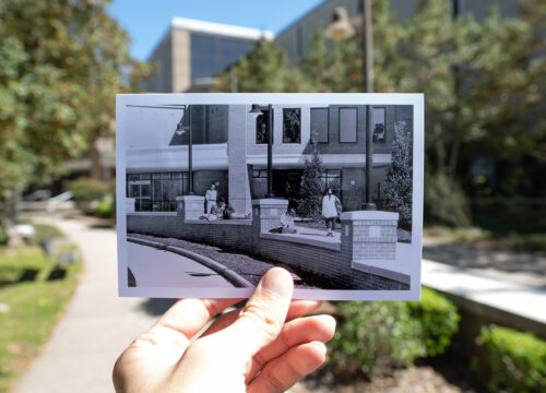 Historical photos at familiar locations display UWF's progress since opening in 1967.