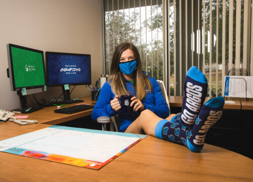 University Advancement promotes Argonaut-branded socks to those who donate gifts on UWF's annual Day of Giving.