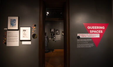 """""""Queering Spaces"""" is an exhibit that celebrates the history and current culture of the LGBTQ+ community in the city of Pensacola. The exhibit is displayed in the T.T. Wentworth Museum in downtown Pensacola."""