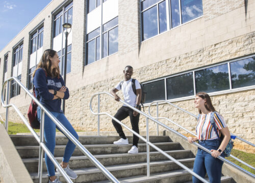 Students socialize between classes responsibly at different locations on the UWF campus.